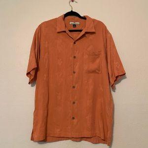 Tommy Bahama orange Hawaiian CAMP shirt 100% Silk
